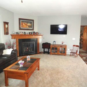 Cambridge in Evansdale, living room fireplace